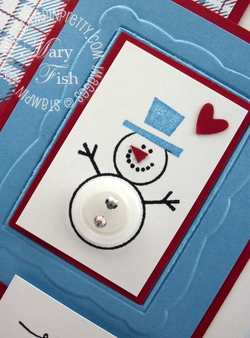 Stampin up button buddies rubber stamps big shot embossing folder snowman holiday card idea