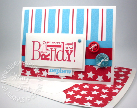 Stampin up birthday card child idea lined envelope demonstrator blog video tutorial