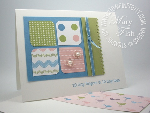Stampin up baby card square corner punch nursery nest idea