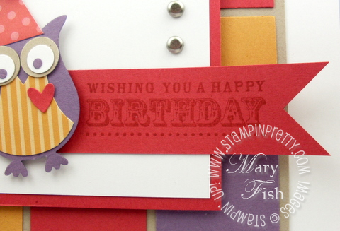 Stampin up demonstrator blog birthday card idea owl builder punch square banner