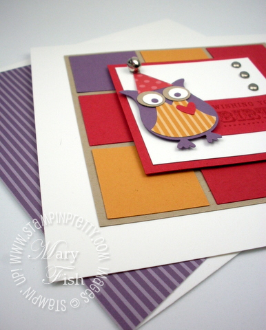 Stampin up demonstrator blog birthday card idea owl punch