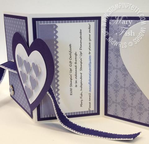 Stampin up valentine hearts framelits dies big shot fold card video tutorial gift certificate