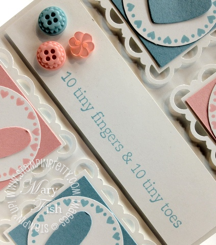 Stampin up occasions mini catalog baby card idea twitterpated heart punch