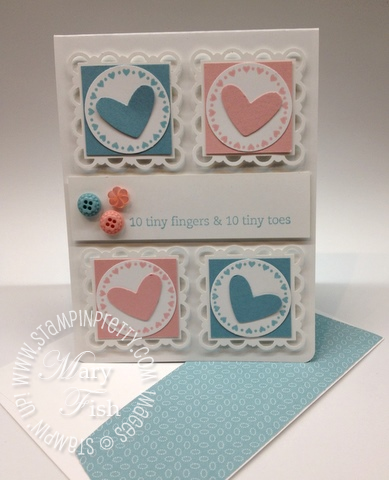 Stampin up mojo monday punch heart baby card idea envelope video tutorial demonstrator