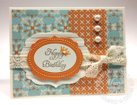 Stampin up labels framelits big shot machine saleabration catalog birthday card idea close front