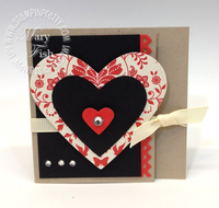Stampin up valentine card idea hearts framelits dies big shot machine pinking heart border punch