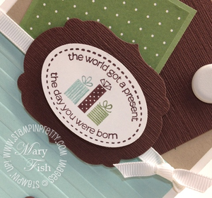 Stampin up masculine birthday card idea labels framelits big shot catalog oval punch