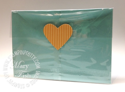 Stampin up catalog punch masculine valentine card heart cello bag envelope