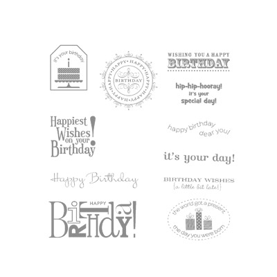 Happiest birthday wishes rubber stamps stampin up