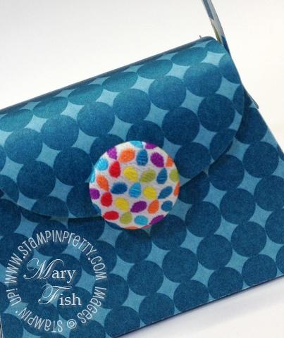 Stampin up big shot die cutting machine petite purse catalog favor box fabric brads