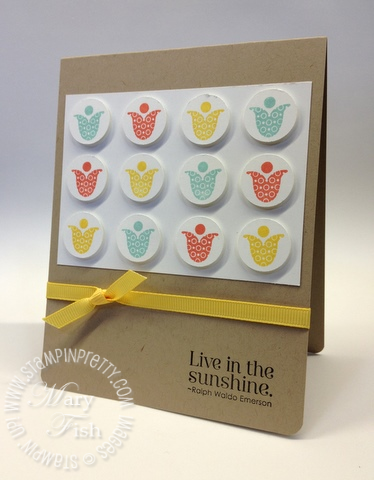 Stampin up catalog circle punch bright blossoms rubber stamp card idea