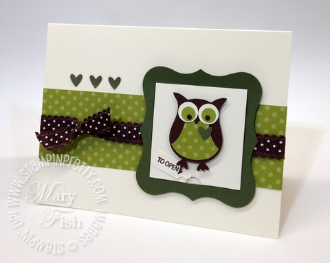Stampin up big shot peekaboo bigz die owl punch st patricks day card idea
