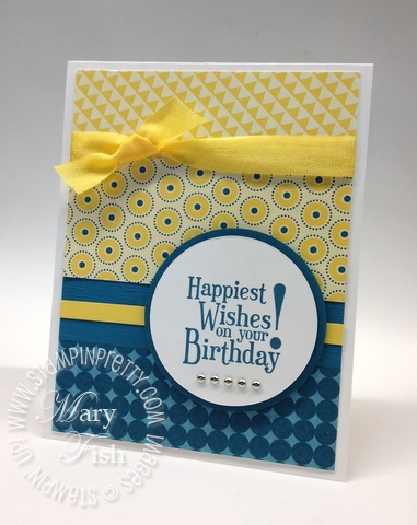 Stampin up mojo monday masculine birthday card summer smooches circle scissors punch