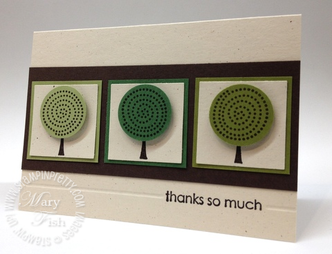 Stampin up retired stamps trendy trees circle punch masculine thank you card simply scored diagonal plate envelope notecards