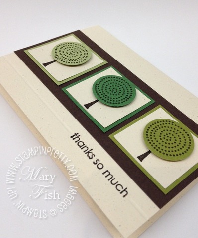 Stampin up retired stamps trendy trees circle punch masculine thank you card simply scored diagonal plate envelope notecard