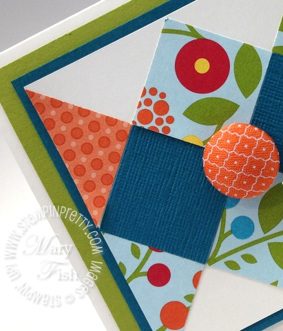 Stampin up summer smooches square punch bright blossoms fabric brads