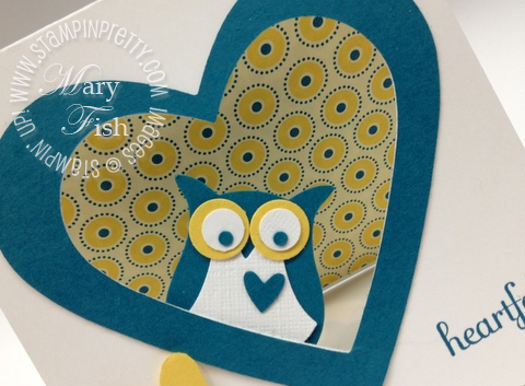 Stampin up owl builder heart punch fabulous phrases summer smooches big shot framelits