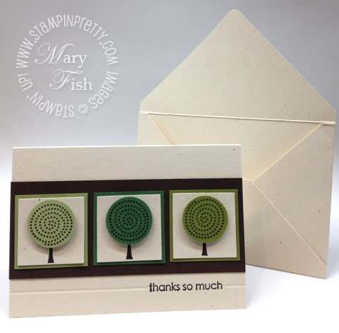 Stampin up retired stamps trendy trees circle punch masculine thank you card simply scored diagonal plate