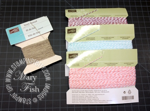 Stampin up demonstrator linen thread storage organization blog ideas bakers twine