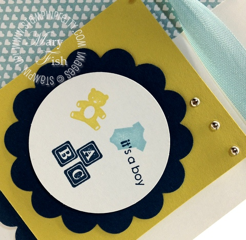 Stampin up demonstrator blog  scallop circle punch baby card idea mojo monday little additions