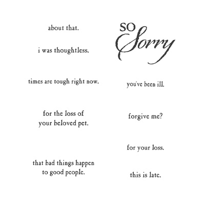 So sorry rubber stamps stampin up