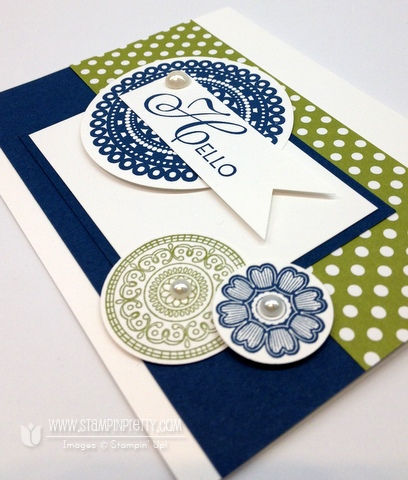 Stampin up pretty demonstrator blog catalog order online circle punch rubber stamps card idea