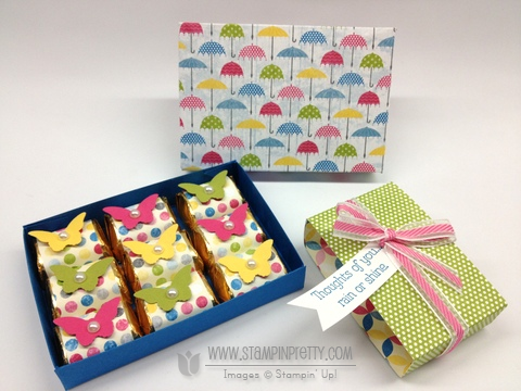 Stampin up stampinup stamp it spring catalogs punch card idea demonstrator rain or shine nugget box hersheys