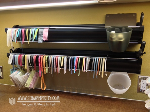 New video ribbon embossing powder storage ideas for Stampin pretty craft room