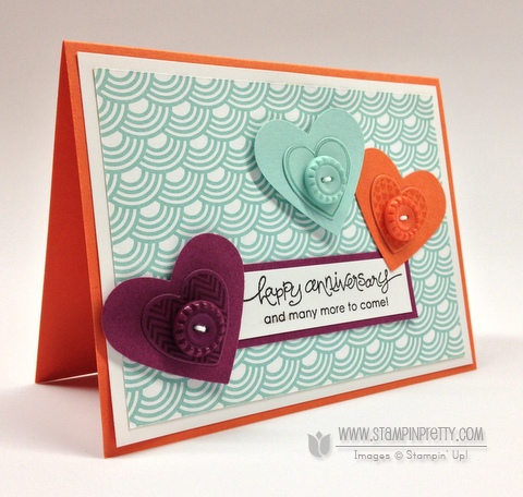 Stampin up stampinup pretty order heart punch saleabration catalog card ideas hearts a flutter