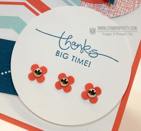 Stampin up stampinup pretty order punch sent with love thank you card idea