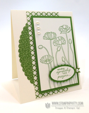 Stampin up stampinup pretty order online pleasant poppies oval punches framelits sympathy card idea