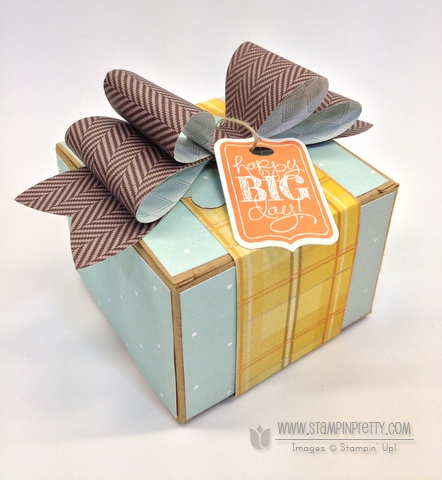 Stampin up stampinup chalk talk stamp it pretty mary fish kraft box gift idea holidays sweater weather bigz bow die