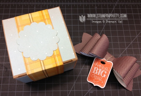 Stampin up stampinup chalk talk stamp it pretty mary fish kraft box gift idea holiday sweater weather bigz bow die