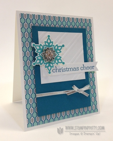 Stampin up stampinup pretty order mary fish it festive flurry framelits dies big shot christmas holiday cards
