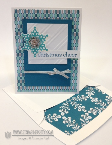Stampin up stampinup pretty order mary fish it festive flurry framelits dies big shot christmas holiday card