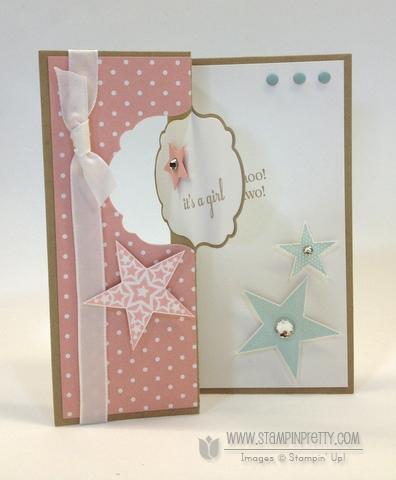 Stampin up stampinup stamp it pretty order thinlits labels card die baby card twins idea