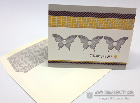 Stampin up stampinup pretty order elegant butterfly punch sweater weather gift of kindness card idea envelope framelit liner