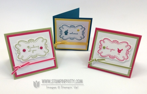 Stampin up stampinup stamp it pretty mary fish sweetly framed envelopes liner framelits die 3 x 3