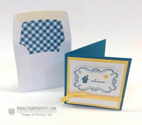 Stampin up stampinup stamp it pretty mary fish sweetly framed envelope liners framelits dies 3 x 3
