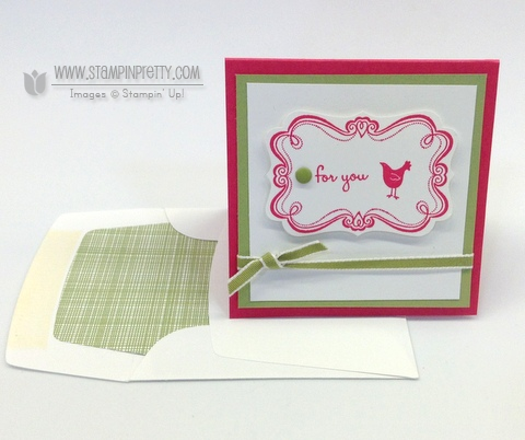 Stampin up stampinup stamp it pretty mary fish sweetly framed envelope liners framelits die 3 x 3