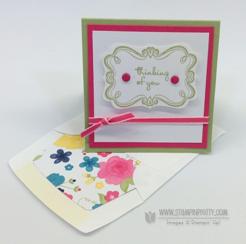 Stampin up stampinup stamp it pretty mary fish sweetly framed envelope liner framelits die 3 x 3