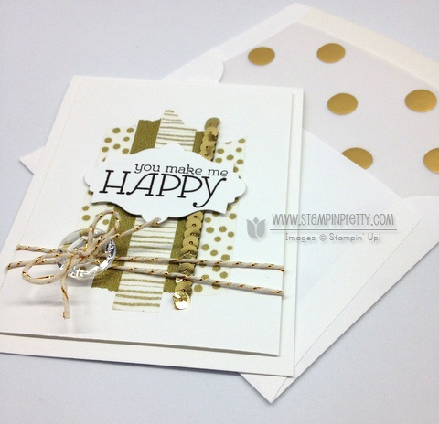 Stampin up stampinup happy watercolor washi tape envelope liner framelits card idea mary fish order