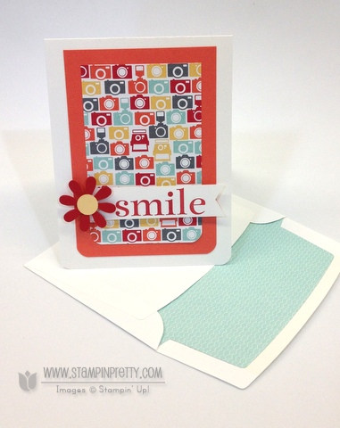 Stampin up stampinup mary fish stamp it pretty happy day catalog free punch envelope liners framelits dies