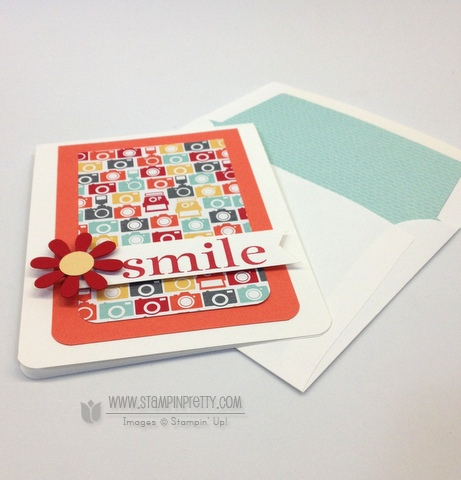 Stampin up stampinup mary fish stamp it pretty happy day catalog free punch envelope liners framelit die card