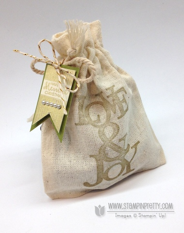 Stampin up stampinup muslin bag mini buy order stamp it pretty holiday love & joy gold encore ink