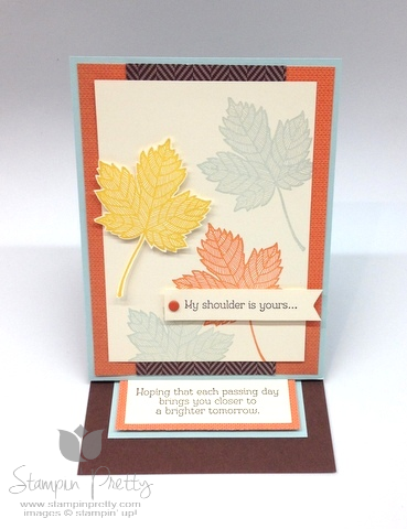 Stampin up stampinup pretty it  mary fish maple leaf fall handmade card ideas autumn