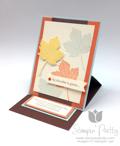 Stampin up stampinup pretty it  mary fish maple leaf fall handmade card idea autumn leaves