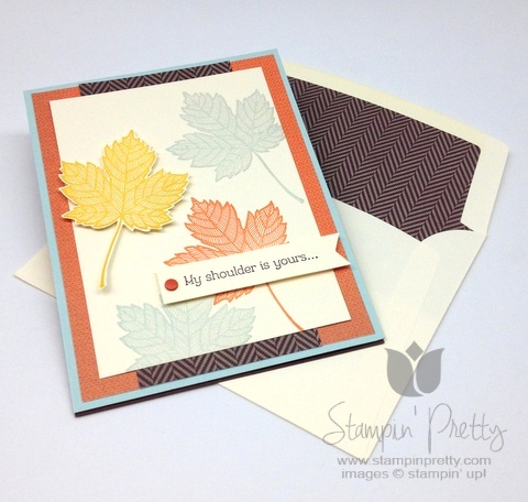 Stampin up stampinup pretty it  mary fish maple leaf fall handmade card idea autumn