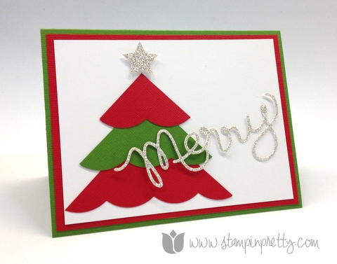 Stampin up mary fish pretty stamp it thinlits expressions dies big shot holiday christmas tree card idea