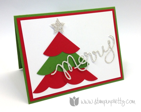 Stampin up mary fish pretty stamp it thinlits expressions dies big shot holiday christmas tree card ideas
